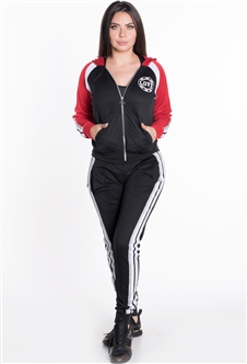 Women's Hooded Jacket and Joggers Tricot Tracksuit Set