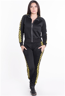 Women's Jacket and Joggers Tricot Tracksuit Set with Checkered Sides