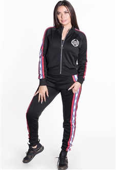 Women's Jacket and Joggers Tricot Tracksuit Set with Side Stripes