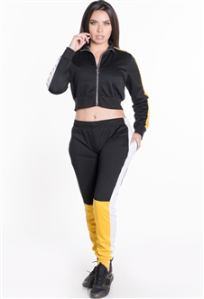 Women's Cropped Jacket and Joggers Tricot Tracksuit Set