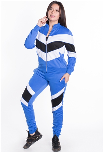 Women's Chevron Jacket and Joggers Tricot Tracksuit Set
