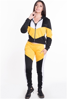 Women's Hooded Jacket and Joggers Tricot Tracksuit Set with Color Blocking