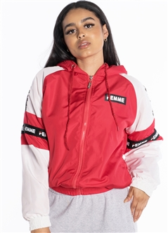 "Women's Windbreaker Jacket with ""Femme"" Print and Brushed Fleece Lining"