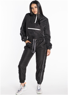 Women's Windbreaker Cropped Half-Zip Jacket with Pants Tracksuit Set with Reflectorized Side Stripes and Brushed Fleece Lining