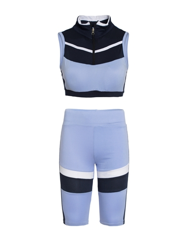Women's Biker Shorts and Half Zip Crop Top Set