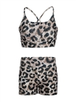 Women's Strappy Leopard Print Honey Comb Shorts Set