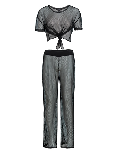 Women's Mesh Cover Up 2-piece Crop Shirt and Pants Set