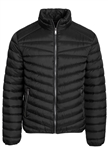 Men's Quilted Puffer Jacket with Gunmetal Zippers and Faux Fur Lining