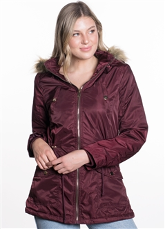 Ladies Nylon Twill Parka w/ Faux Fur Lining and Detachable Hood and Waistband Draw String