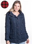 Ladies Peach Skin Parka w/ Faux Fur Lining and Detachable Hood and Waistband Draw String