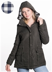 Ladies Plus Size Peach Skin Parka w/ Buffalo Plaid Flannel Lining and Detachable Hood and Waistband Draw String