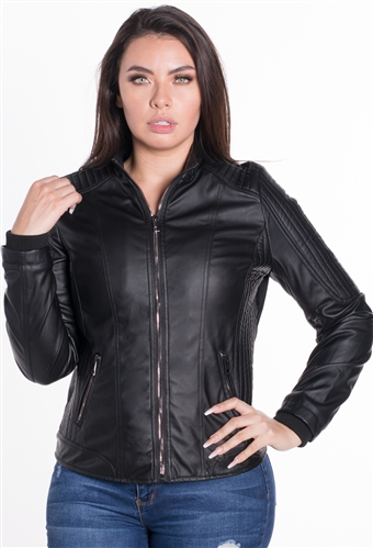 Women's Vegan Leather Moto Style Jacket