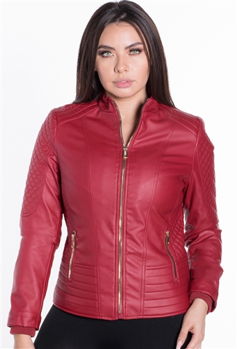 Women's Faux Leather Moto Style Jacket