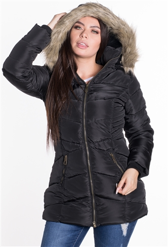 Women's Longlined Puffer Jacket with Detachable Fuax Fur Hood/