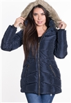 Women's Mid-Length Puffer Jacket with Detachable Fuax Fur Hood/