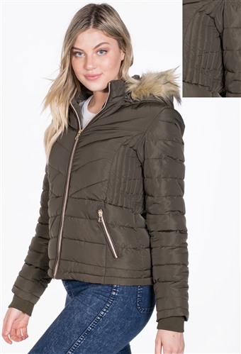 Women's Puffer Jacket with Detachable Hood and PU Piping