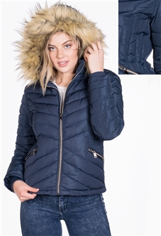 Women's Puffer Jacket with Detachable Hood and Vegan Leather Piping