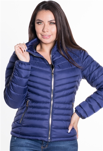 Women's Puffer Jacket with High Shine Zippers