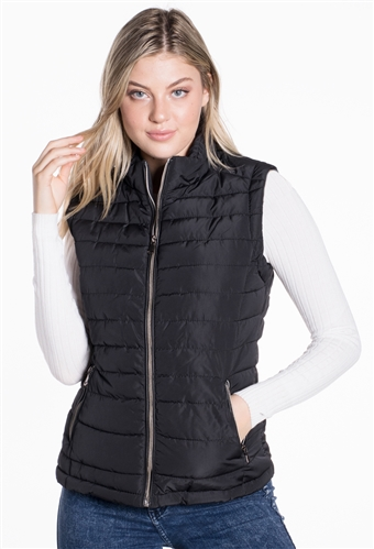 Women's Puffer Vest with Vegan Leather Piping