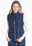 Women's Plus Size Puffer Vest with PU Piping