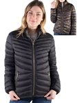 Women's Reversible Puffer Jacket with High Shine Zipper