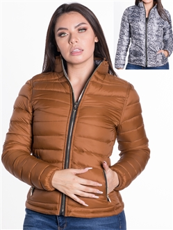 Women's Reversible Puffer Jacket with Python Print and High Shine Zippers