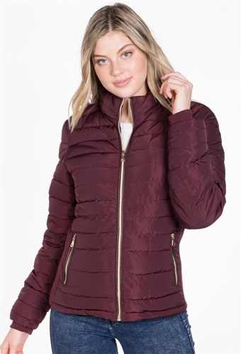 Women's Puffer Jacket with High Shine Zipper and Vegan Leather Piping