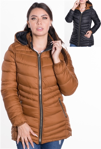 Women's Mid-Length Reversible Puffer Jacket with High Shine Zippers