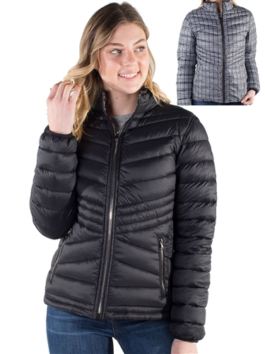 Women's Reversible Puffer Jacket with Houndstooth Print and High Shine Zippers