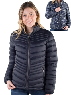 Women's Reversible Puffer Jacket with Floral Print and High Shine Zippers