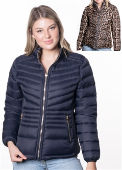 Women's Reversible Puffer Jacket with Leopard Print and High Shine Zippers