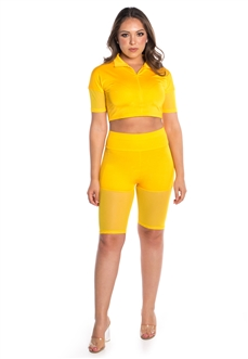 Women's Mesh Biker Shorts and Zip Up Crop Top Set