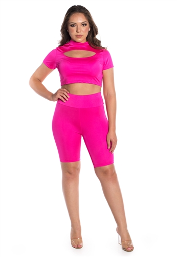 Women's Biker Shorts and Crop Top with Cut Out Set