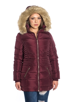Women's Mid-Length Puffer Jacket with Detachable Faux Fur Hood