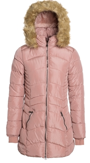 Women's Mid Length Puffer Jacket with Detachable Faux Fur Hood