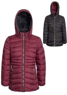 Women's Mid Length Solid Reversible Lightweight Puffer Jacket