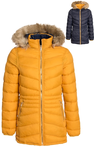 Women's Mid Length Reversible Puffer Jacket with Detachable Faux Fur Hood