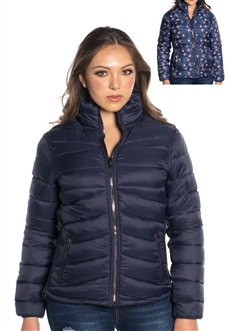 Women's Reversible Puffer Jacket Solid and Floral