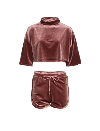 Women's Plus Size Velour Mock Neck Crop Top and Shorts Set