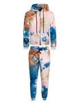 Women's Tie-Dye Zip Up Jacket with Hood and Joggers Set