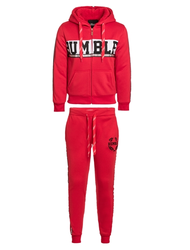 "Women's ""Humble"" Print Faux Sherpa Lined Zip Up Hoodie with and Joggers Set with Metallic Side Stripes"