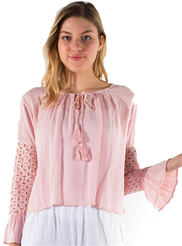 Ladies Hanging Eyelet Sleeved Top with Self Tie Tassel