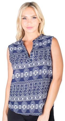 -Ladies Printed Sleeveless Shirt