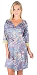 Ladies Printed Shift Dress with Crochet Trim on Sleeves