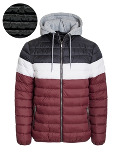Men's Color Blocking Puffer Jacket with Detachable Hoodie