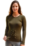 Ladies Rib Sweater Tie Up Front By Special One