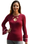 Ladies Rib Sweater Top Criss Cross Neck By Special One