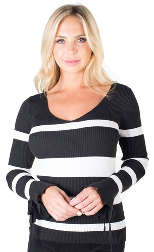 Ladies Ribbed Striped V-Neck Sweater Top with Bell Sleeves By Special One