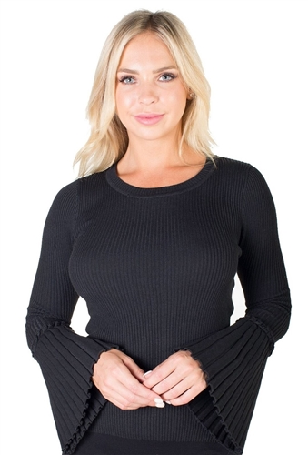 Ladies Ribbed Sweater Top with Bell Sleeves By Special One