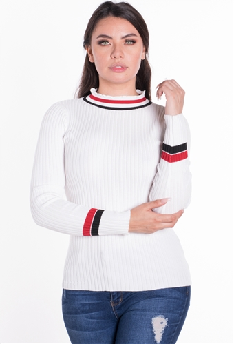 Women's Ribbed Striped Sweater Top with D-Ring Accent